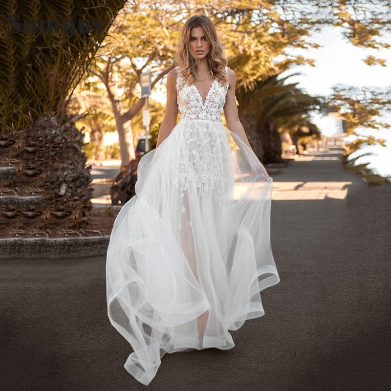Review SoDigne Lace Wedding Dresses 2021 V neck Appliques A Line Bride Dress Princess Wedding Gown Free Shipping Robe De Mariee
