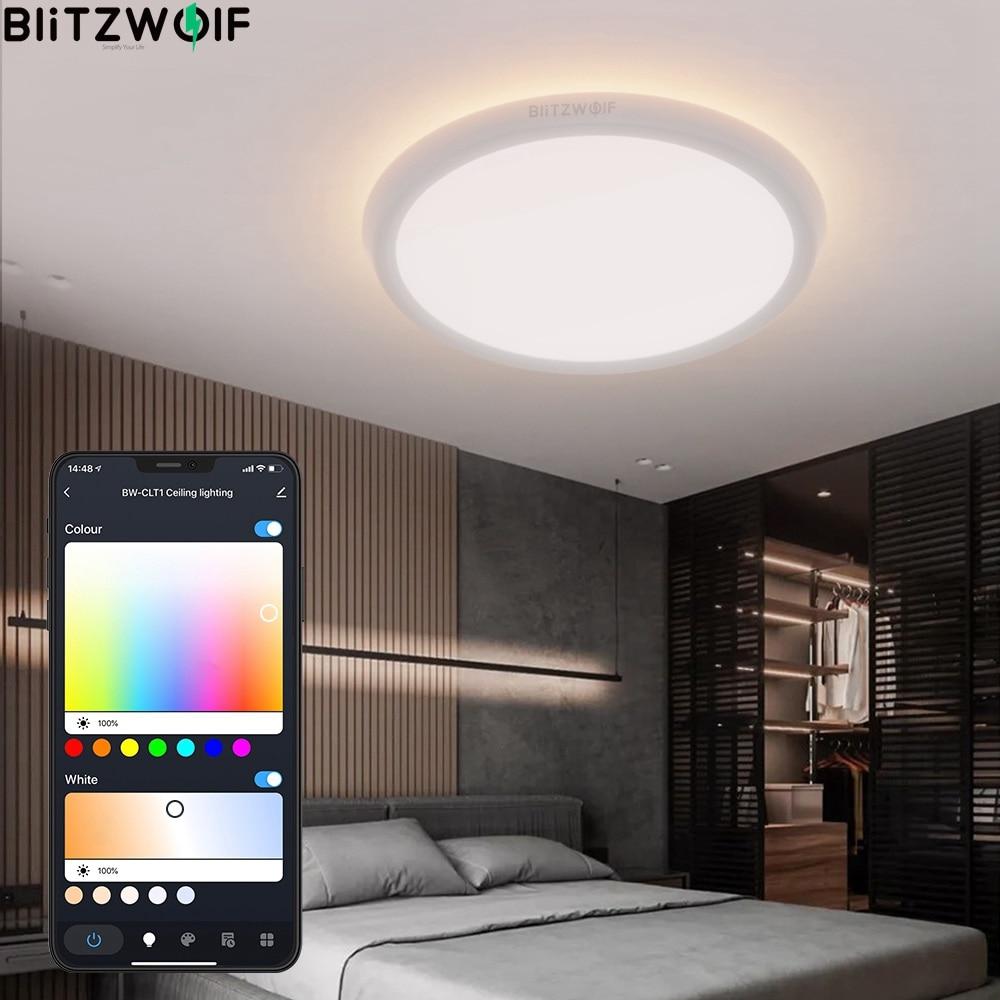 BlitzWolf BW-CLT1 LED الذكية ضوء السقف مع ضوء الرئيسي و RGB جو ضوء 2700-6500K قابل للتعديل درجة الحرارة التطبيق عن
