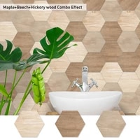 10pcs 3d hexagon floor stickers wood grain self adhesive wall sticker waterproof american country style ground decals home decor