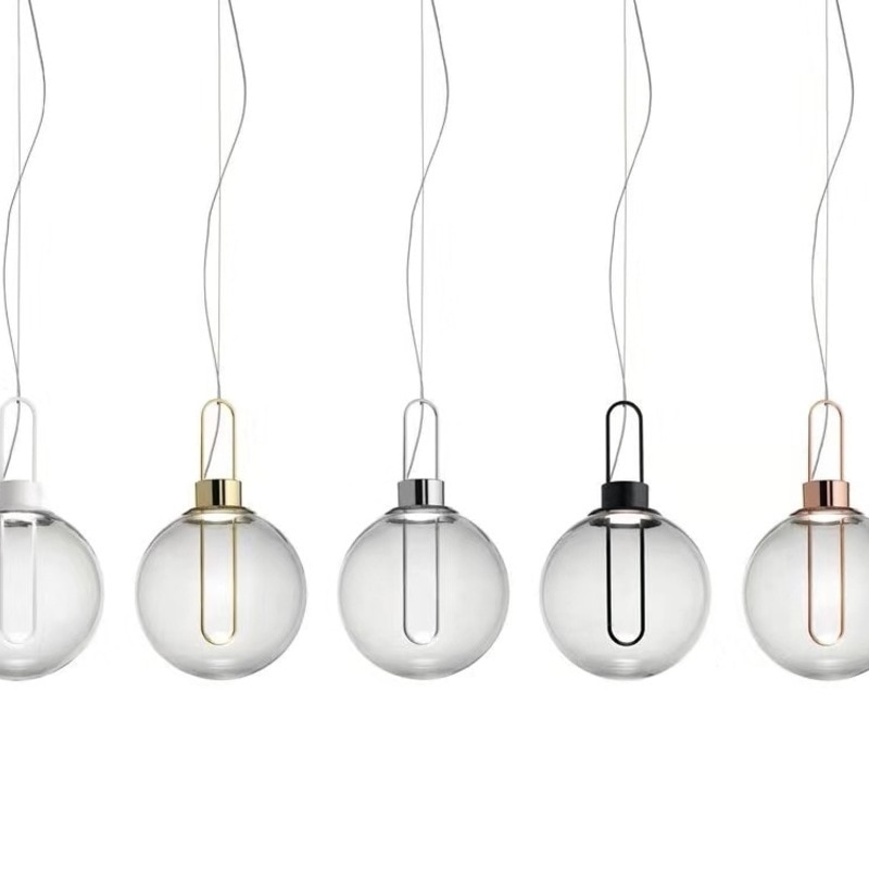 Lámpara colgante de bola de cristal de oro de plata clara moderna...