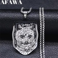 gothic skull cat stainless steel pendant necklace womenmen silver color chain necklace jewelry collier inoxydable n3637s03