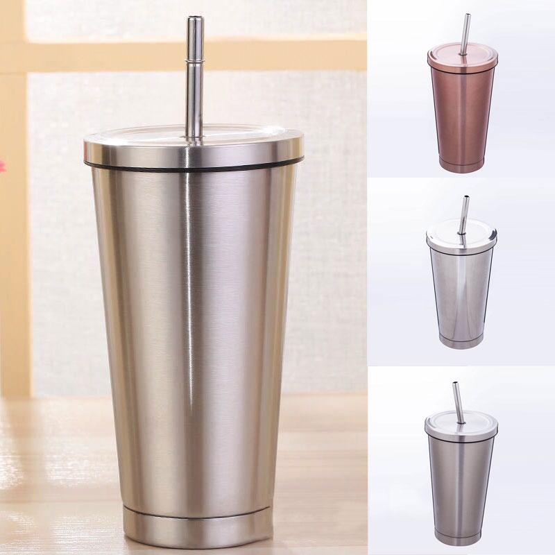 De acero inoxidable de 500ML taza de viaje portátil jarra de café Tumbler con pajita para beber