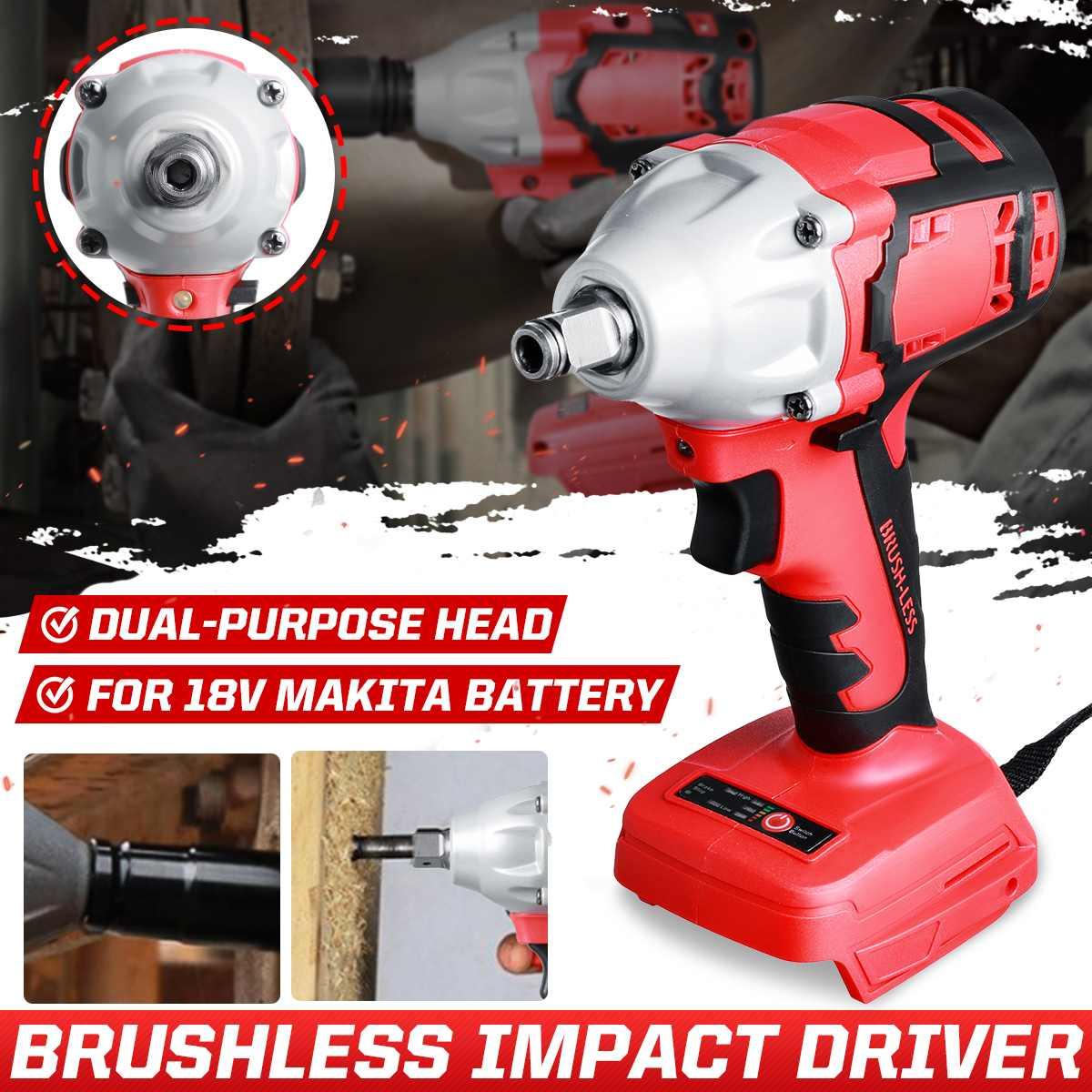18v 880nm brushless chave de impacto elétrica dupla-uso chave de fenda elétrica broca 1/2 chave de soquete ferramenta elétrica para bateria makita
