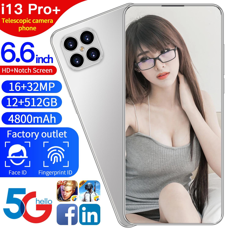 2021 أعلى بيع I13 برو النسخة العالمية لعبة 5G الهاتف الذكي 6.6 بوصة ID الوجه أنف العجل 888 4800mAh 12GB 512GB 10 النواة 16MP 32MP