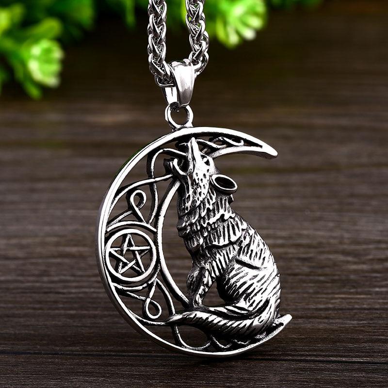 Lobo vikingo colgante gargantilla collar de cadena Thor Hammer Mjolnir encanto talismán Vintage joyería