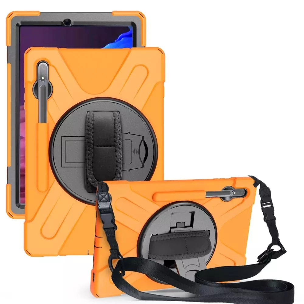 "Para samsung tab s7 plus t975 t970 armadura pesada caso 360 rotativa kickstand capa cinta para samsung tab s7 SM-T870/t875 11"""