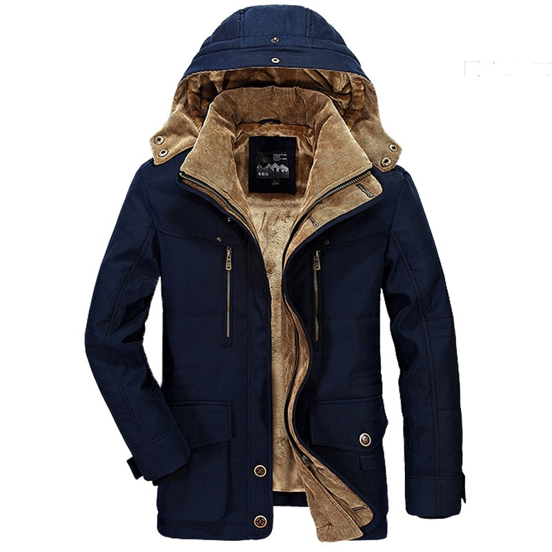 Winter Men's Cotton-padded Jacket Mid-length Plus Velvet Thick Cotton-padded Jacket Multi-pocket Padded Jacket Men's Brand Coat