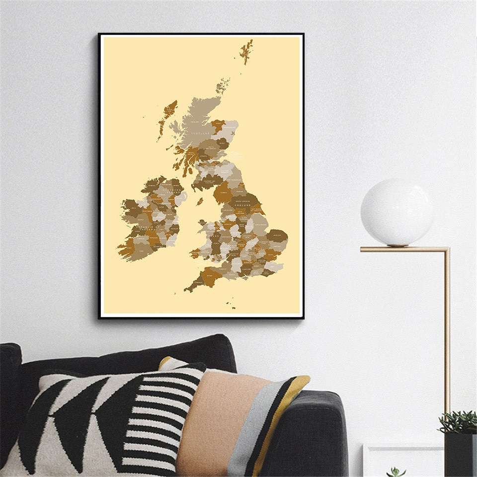60*90cm The United Kingdom Map Vintage Canvas Painting Wall Art Poster  Living Room Home Decoration Travel School Supplies