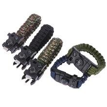 Hommes Bracelet tissé corde multifonctionnel parapluie corde militaire survie Bracelet pour hommes en plein air Camping durgence sifflet outils