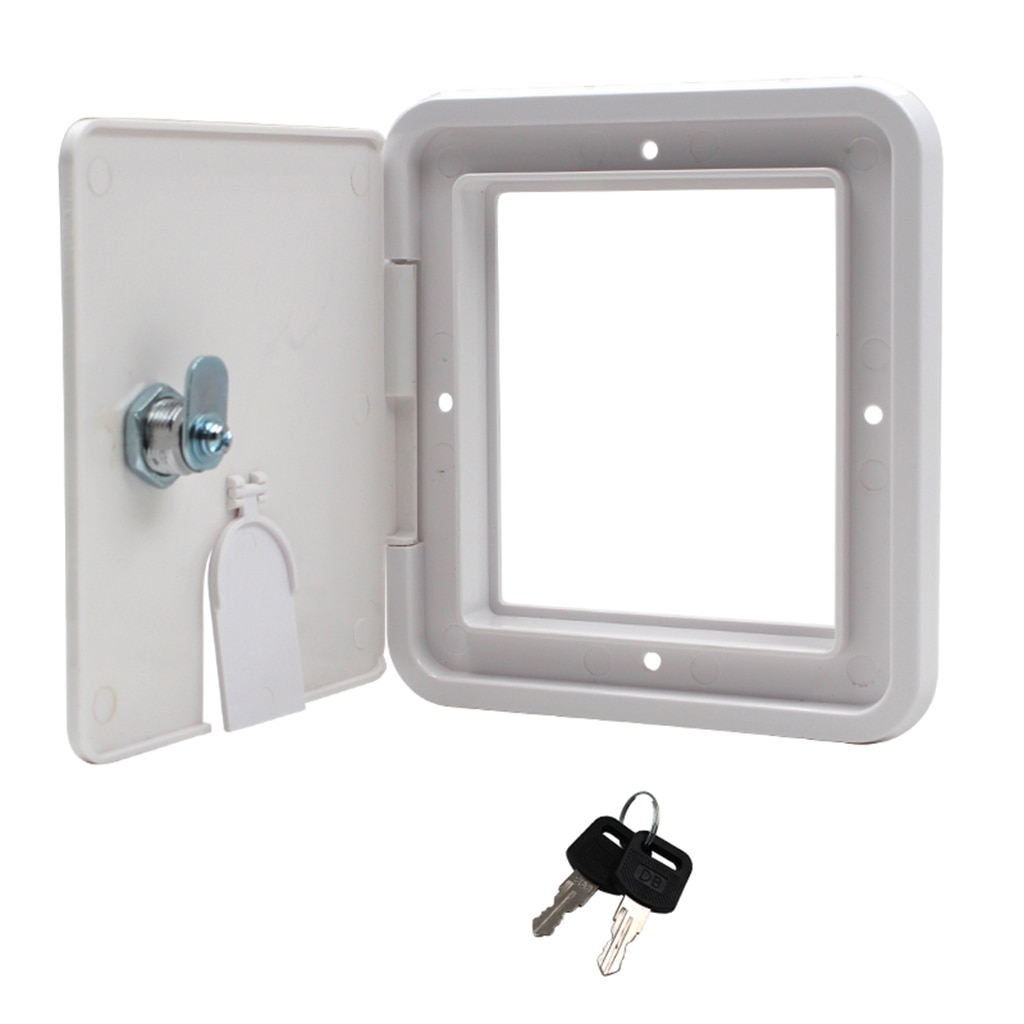 Square ELECTRIC CABLE HATCH w/ Key for RV Electric Cord Camper Cover ( White )