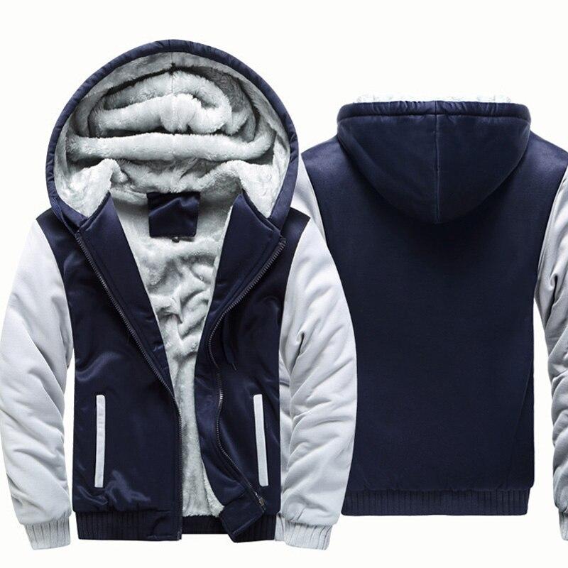 Модная мужская новая зимняя утепленная модная толстовка на молнии утепленная флисовая куртка пальто с капюшоном
