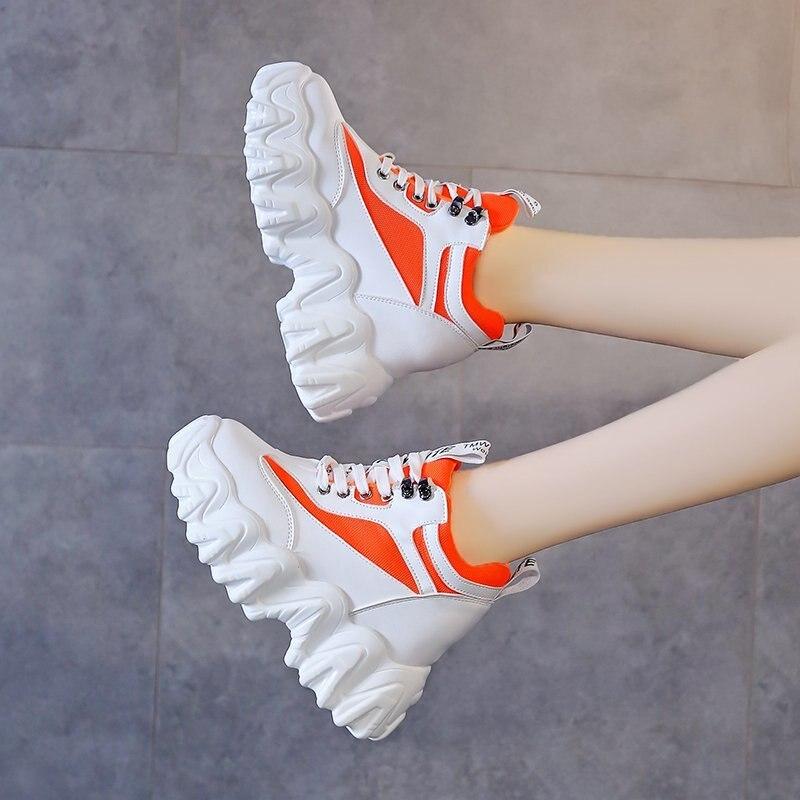 Chunky Plataforma Sneakers Para As Mulheres 2020 Ulzzang Moda 10 centímetros Super Alta Cunha Sapatos Mulher Sapatos Casuais Senhoras Formadores Feminino