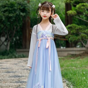 H2520 Children Cosplay Costumes Student Performance Clothes Chinese Ancient Dress Girl Ancient Fairy Tang Traditional Clothing