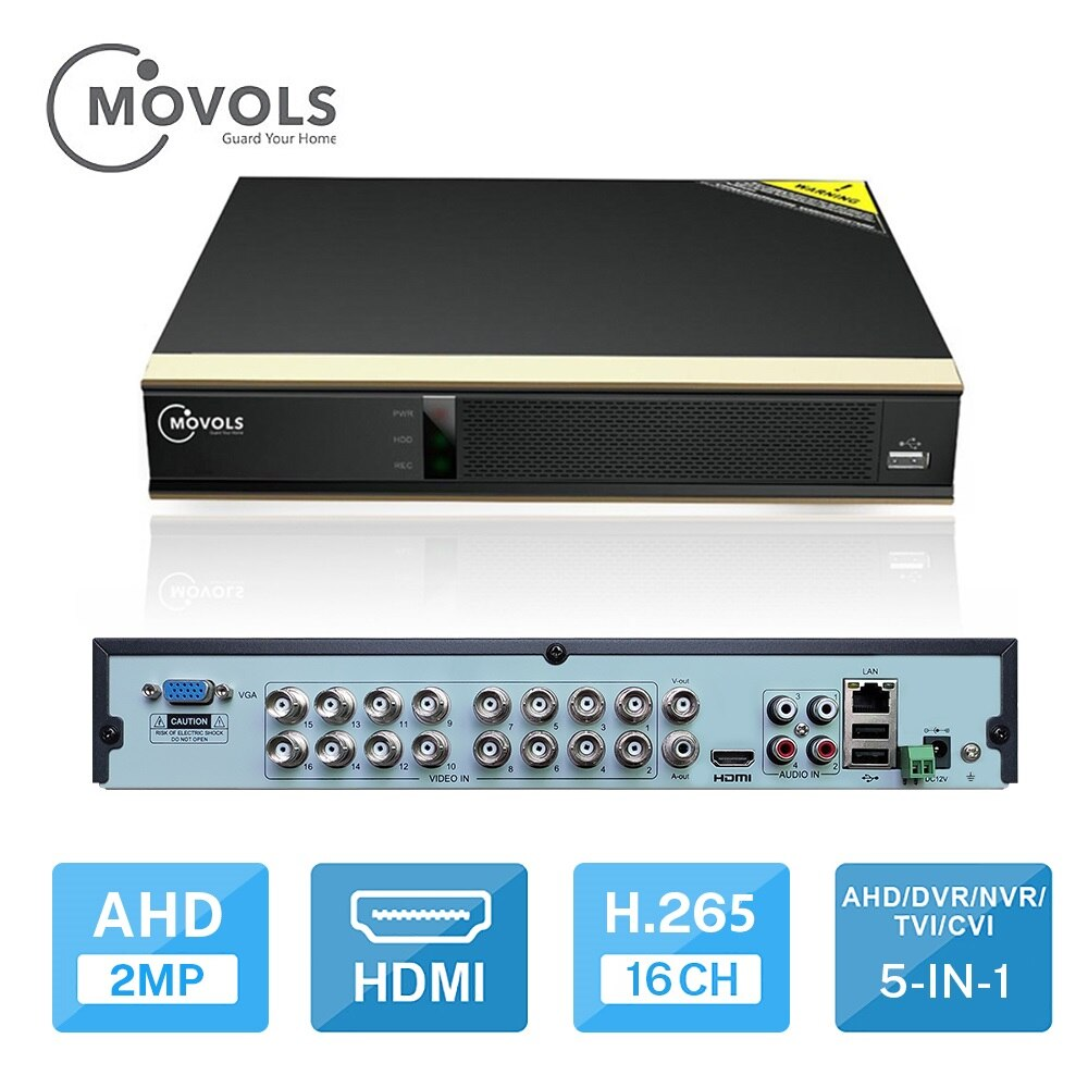 MOVOLS DVR 16CH H.265 CCTV Video Recorder For AHD Camera Analog Camera IP Camera Onvif P2P 1080P Video Surveillance DVR Recorder