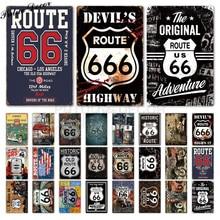 Route 66 Vintage metalowy znak znak blaszany plakietka metalowa Vintage Retro garaż dekoracje ścienne dla Bar Pub Club Man jaskinia stacja benzynowa