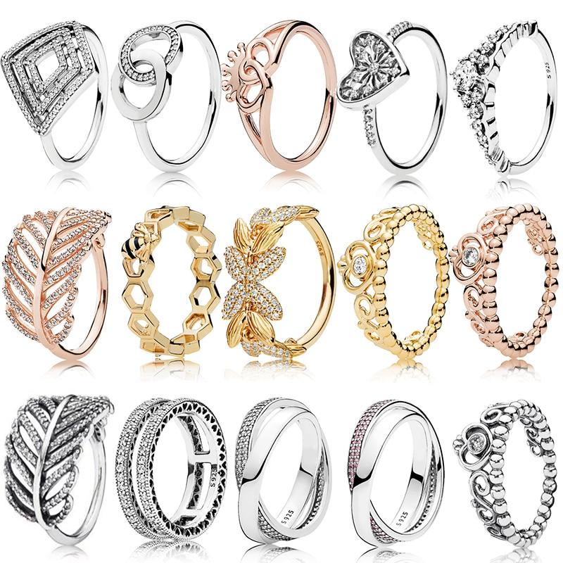 PDB JZ 10 Original Brand100 % 925 anillo de plata esterlina grabado LOGO centelleante plumas doble corazón cuento de hadas cuervos anillos de mujer