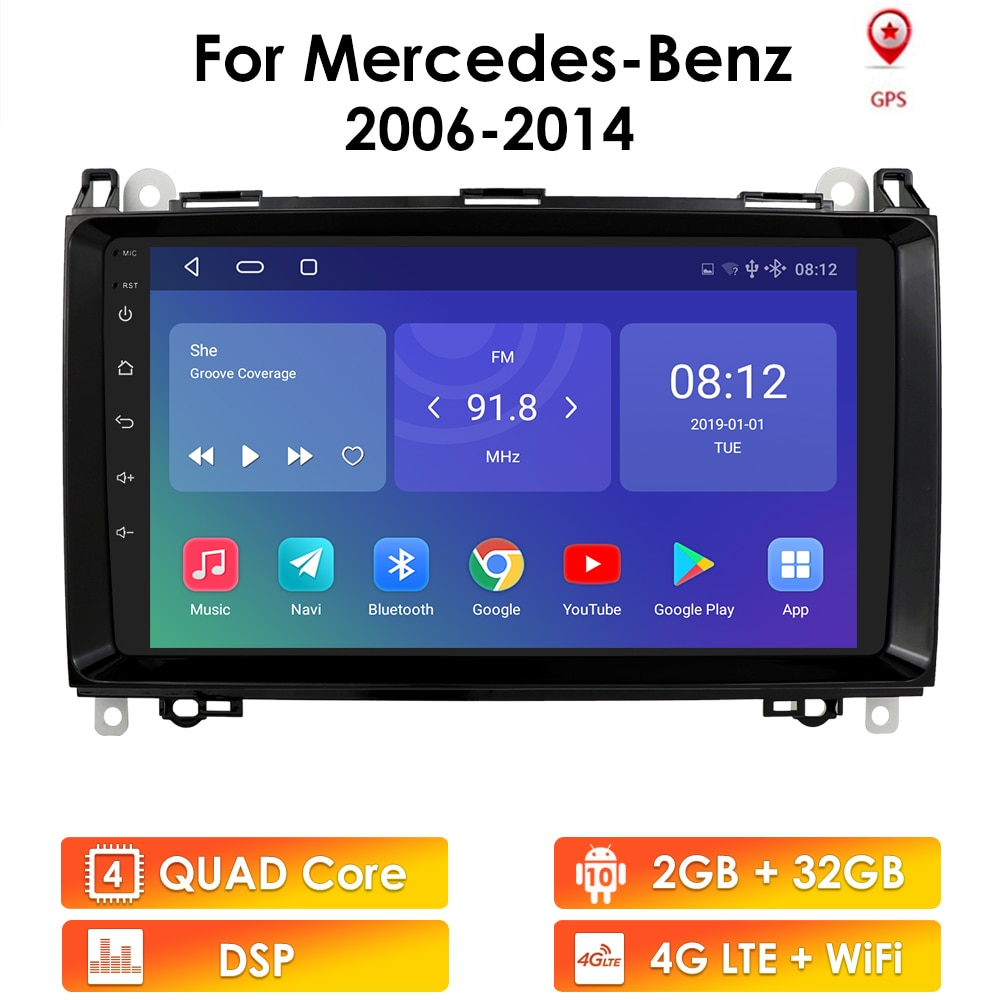 2GB 32GB Android 10 2 Din 9'' Car Radio for Mercedes Benz B200 Sprinter W906 W639 AB Class W169 W245 Viano Vito Radio GPS Navi