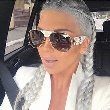 Feishini Wholesale price 2021 Oversized Pilot Sunglasses Women Luxury Brand Fashion Flat Top One Pie