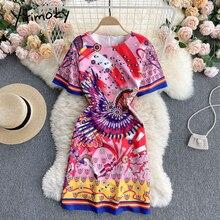 Yitimoky Bohemia Floral Print High Waist Dresses Women Zipper Short Sleeve O-Neck A-Line Red Clothin