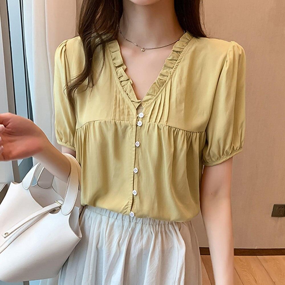 2021 Japan Korea Summer New Blouse Solid Color Temperament V-neck Fungus Crimping Single-breasted Su