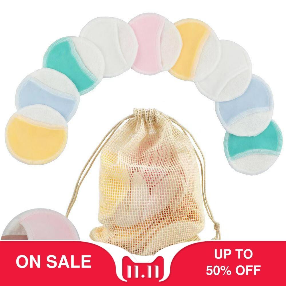Make-up Entferner Pads 6PCS Reusable Baumwolle Pads Machen Up Bambus Faser Gesichts Hautpflege Reinigung Tücher mit Wäsche Tasche
