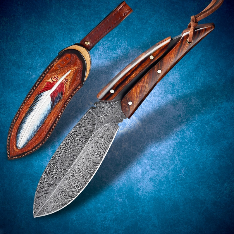 Damascus Feather Textured Steel Straight Knife Desert Iron Wood Handle and Sheath EDC Utility Tool High-end Handmade Gift