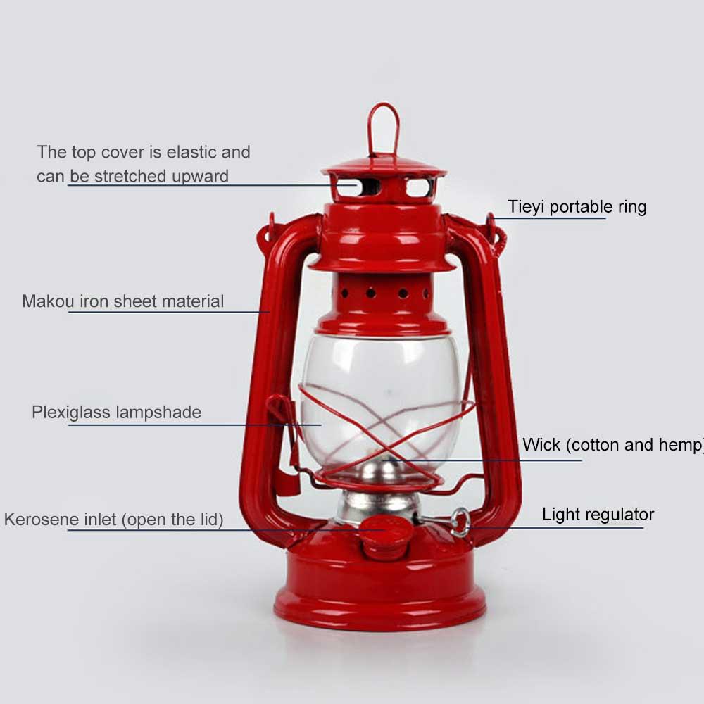 Ностальгический ретро кованое железо керосин лампа украшения винтаж портативный стекло фонарь украшение открытый кемпинг лампа реквизит