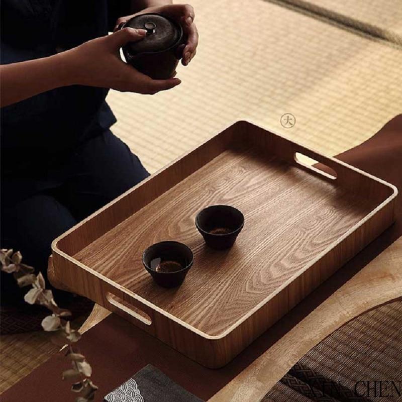 صينية الخبز التخزين المنظم خشبية مستديرة/البيضاوي/مستطيلة تخدم صينية الخشب الشاي لوحة طبق الطعام طبق طبق عشاء كعكة الفاكهة