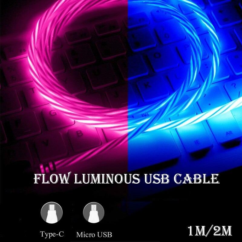 Cable de carga LED de 1m y 2m de largo Cable Micro USB Cable de iluminación tipo C cinta C Cable de carga rápida para Huawei Samsung Xiaomi