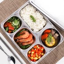 Rvs 304 Verdeeld Diner Lade Fastfood Plaat 5 Grids Voor School Kantine Kids 5 Sectie Cafetaria Partitie Plaat
