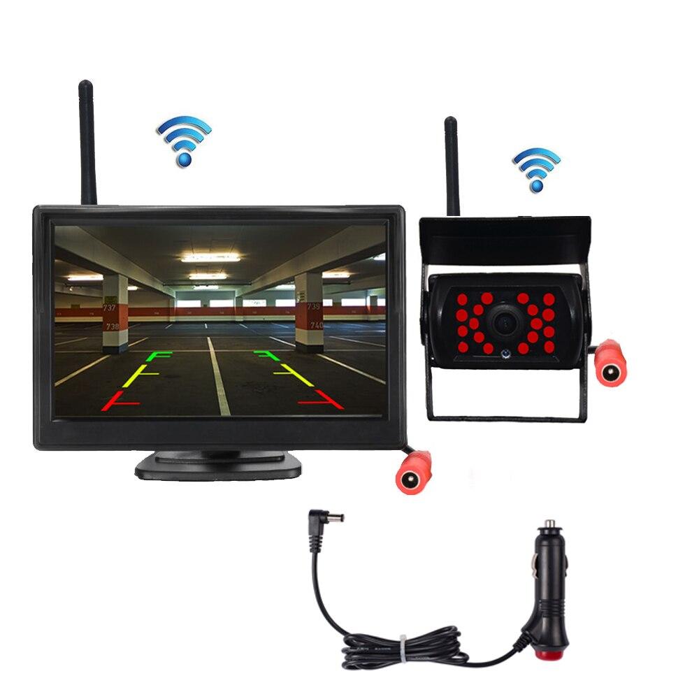 "BYNCG 7 ""Monitor inalámbrico de coche TFT LCD cámara de visión trasera HD monitor para cámara de camión soporte de Bus DVD marcha atrás cámara de copia de seguridad"