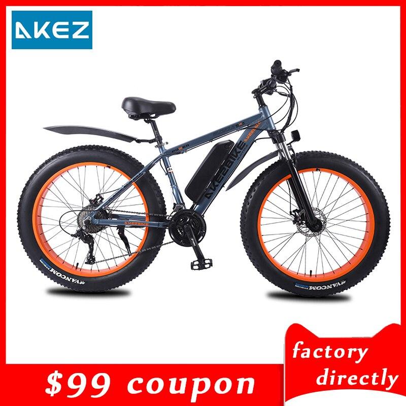 Bicicleta eléctrica para nieve de 26 pulgadas y 27 velocidades, para la playa, con batería de litio de 10Ah y aleación de aluminio, directamente de fábrica