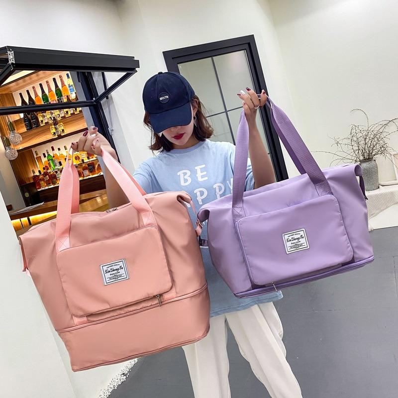 طوي سعة كبيرة النساء حقائب الجيم حقيبة كتف المرأة التدريب السفر مقبض حقيبة يد اليوغا الرياضة Crossbody حمل حقيبة المرأة
