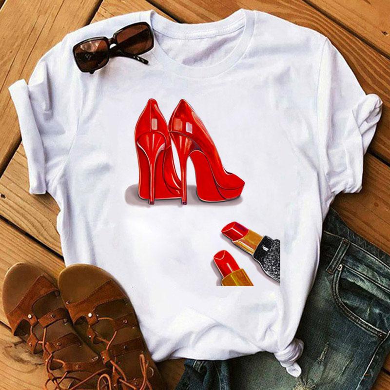 Women's Clothing Summer 2021 Fashion Women T Shirt Red High Heels Shoes and Lipstick Print Vogue Top
