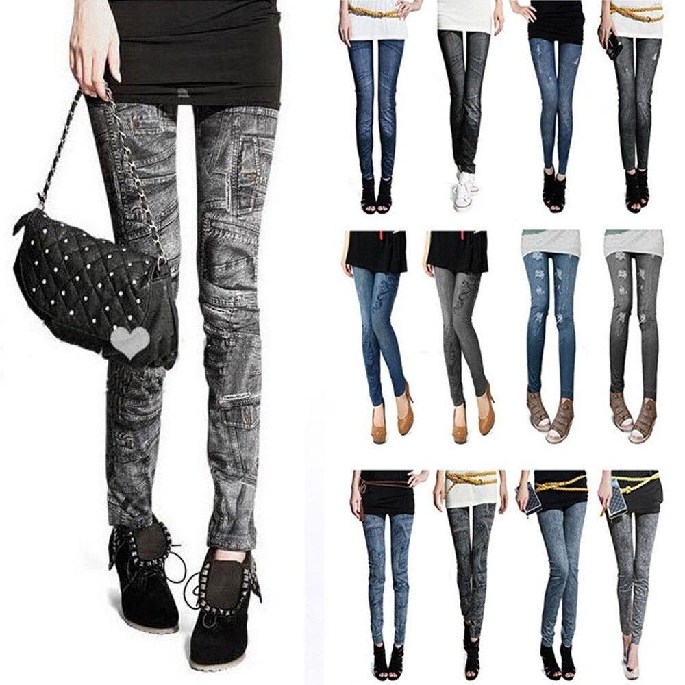 Женские облегающие джинсовые леггинсы, однотонные облегающие леггинсы для фитнеса, облегающие леггинсы из имитированного денима, Осень-зи...