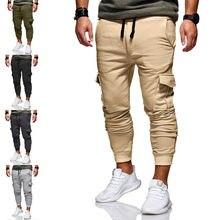 Hot hommes pantalons décontracté Sport longues poches cordon coton survêtement Fitness Sport Gym entraînement Joggers pantalon