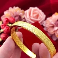 not fade retro fashion gold 14k bracelet for women wedding engagment jewelry statement bangles for girlfriend christmas gift