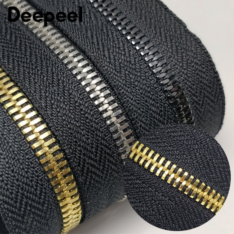 Deepeel 5# 2Meters Metal Zipper Without Slider Double Pull Garment Luggage DIY Zip Sewing Crafts Clo