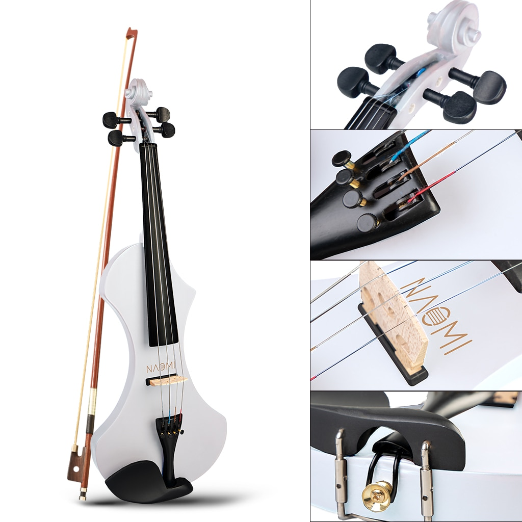 NAOMI Special Design 4/4 Full Size Solid Wood Electric Violin Set Beginner Acoustic Violin Fiddle with Case Violin Bow enlarge