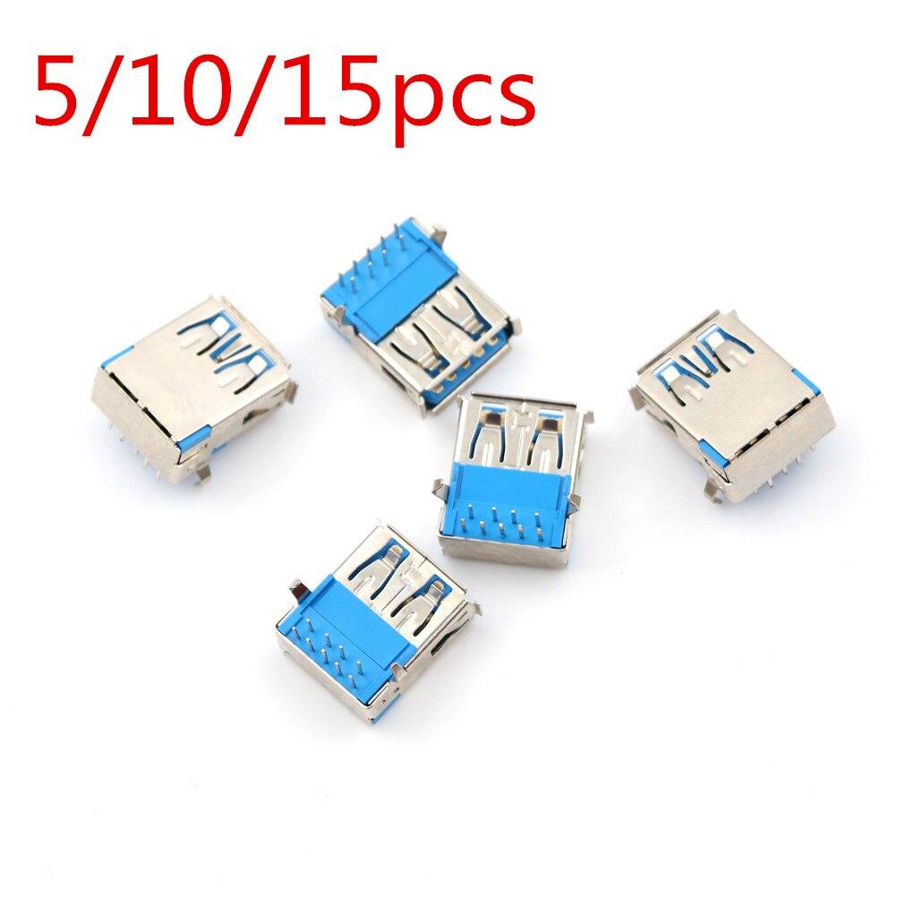 5/10/15 шт. женский правый угол 9 Pin Штекерный разъем DIP 90 градусов USB 3,0 Тип DIP Тип A