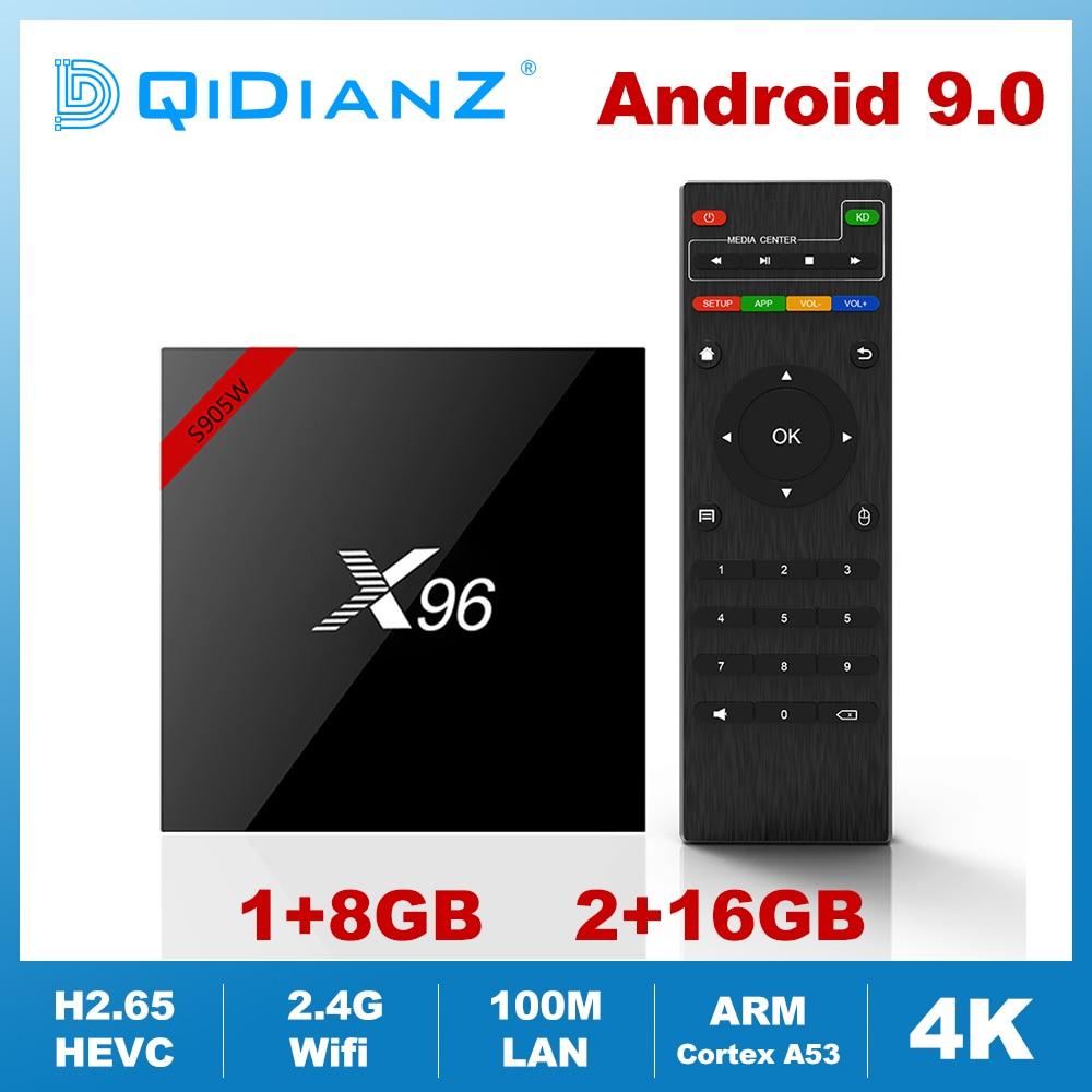 TV Box X96, Android 9,0, 4K, decodificador de señal con Amlogic S905W, Quad Core, wi-fi 2,4G, HD, Mini Netflix, reproductor multimedia, 1GB, 8GB, 2GB, 16GB