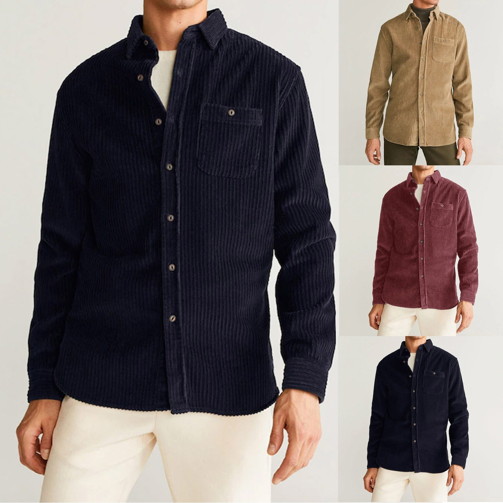 Fashion Men Clothing New Corduroy Solid Color Casual Button Loose Long-sleeved Pocket Shirt Top Casual Breathable Comfort Shirt
