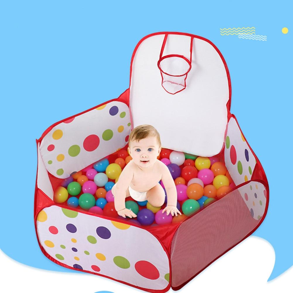 Portable Indoor Outdoor Ballenbak Toys Baby Playpen Children Ball Pit with Basketball Hoop Kids Dry Ball Pool Folding Playpens G