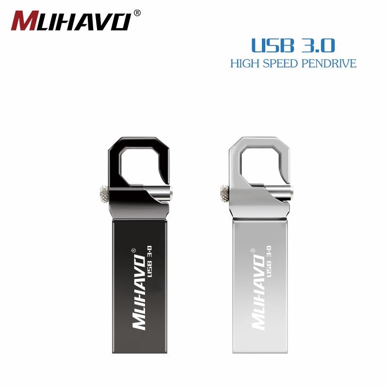 Resistente al agua unidad flash usb 3,0 pendrive 128GB 64GB 16GB 8GB memoria usb bolígrafo con llavero drive 3,0 gb 32 GB envío gratuito