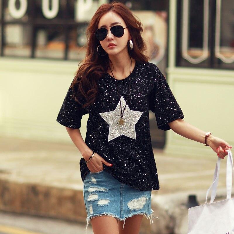 Nueva camiseta a la moda de YOCALOR, Tops para Mujer, Camisetas de algodón de manga corta y cuello redondo con estampado de estrellas y lunares, Camisetas de verano con diamantes de imitación para Mujer