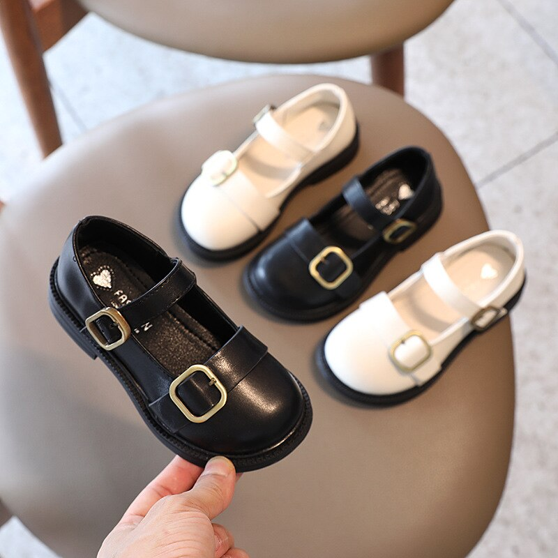 2021 Baby Girls Single Shoes Double Bucklesoft Bottom PU Leather Shoes Retro Princess Shoes Garden S