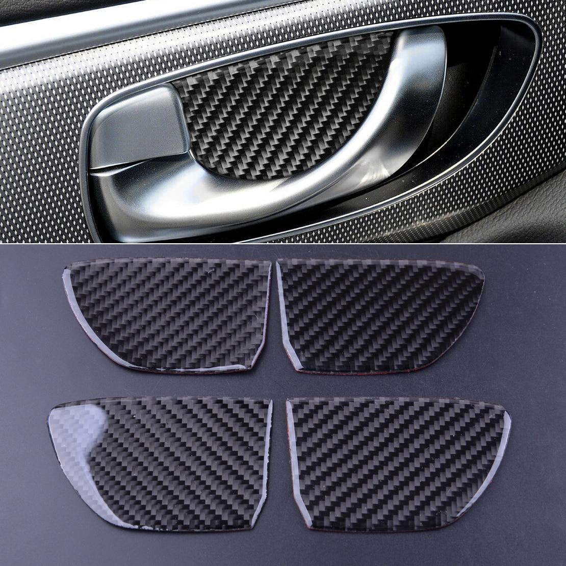 De fibra de carbono y 4 Uds manija de puerta Interior cubierta de cuenco Trim etiqueta apto para Infiniti Q50 Q60 2014, 2015, 2016, 2017, 2018, 2019