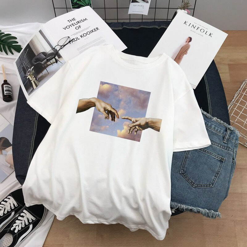 Camisetas femininas de manga curta de grandes dimensões camiseta de manga curta harajuku camiseta de mulher Camisetas    -