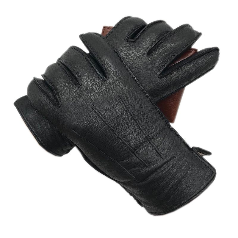 Gants dhiver en cuir véritable pour hommes doublure en laine à coudre à la main gants dhiver garder au chaud conduite équitation en plein air haut de gamme Bla