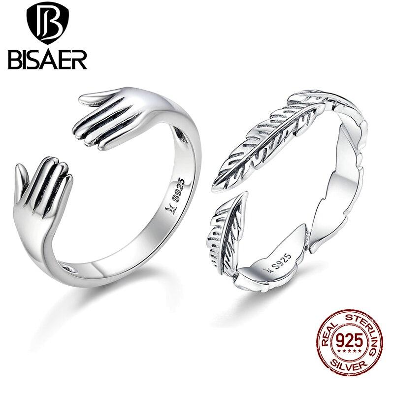 Новый дизайн 100% 925 пробы Серебряное кольцо дать мне объятия руки открытые, кольца на палец для Для женщин Аутентичные Серебряные ювелирные изделия подарок Анель подарок